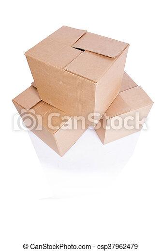 scatole, set, isolato, bianco - csp37962479