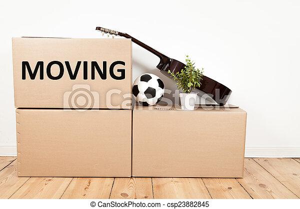 scatole, spostamento, stanza - csp23882845