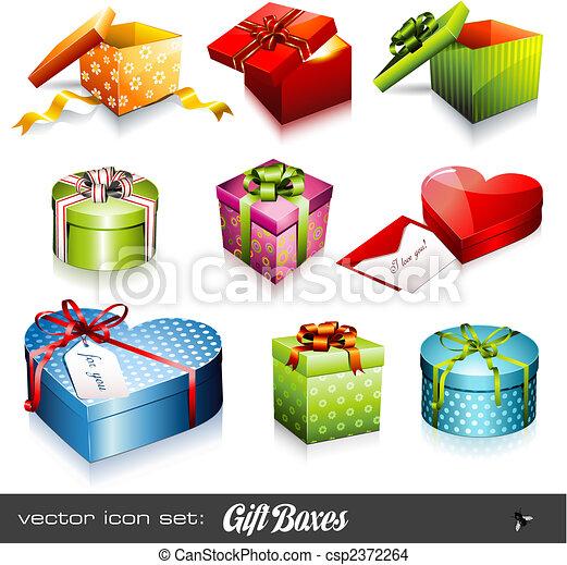 scatole, vettore, set:, regalo - csp2372264