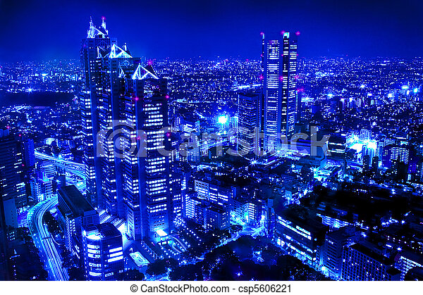 scena città, notte - csp5606221