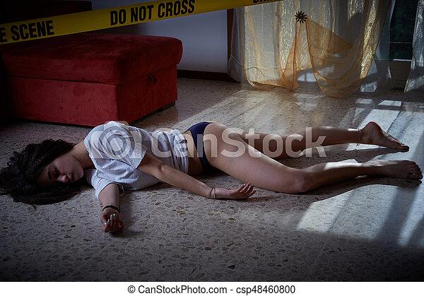 scene., crime, mensonge, victime, plancher - csp48460800