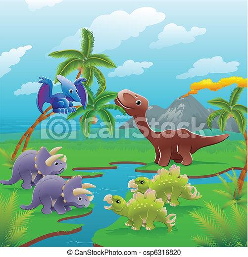 Kartoon Dinosaurier Szene. - csp6316820