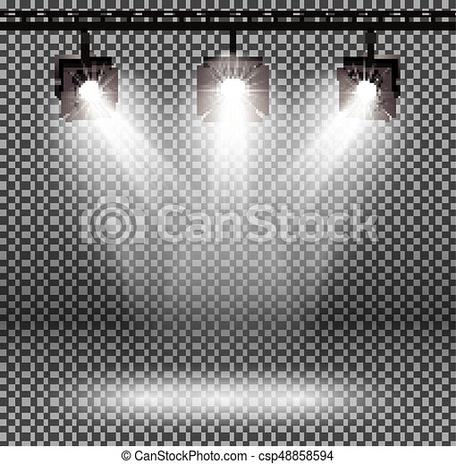 Scene Illumination Effects with Spotlights on Transparent Background. - csp48858594