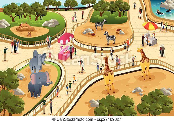 scene in a zoo a vector illustration of scene in a zoo rh canstockphoto com zoo clipart png zoo clipart background