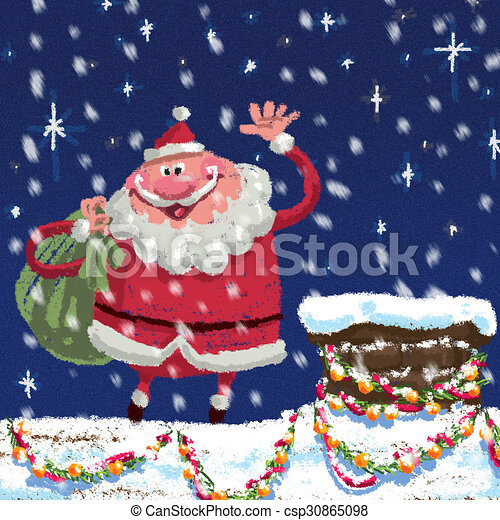 Scene of cartoon Santa Claus at roof delivering Christmas presents - csp30865098