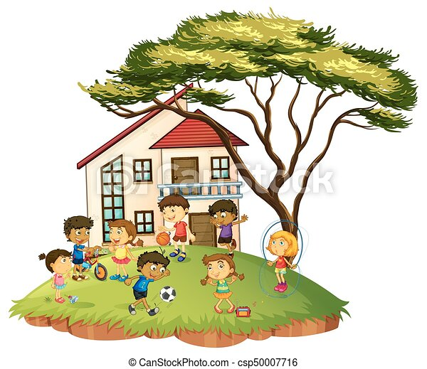Scene with children play at home illustration.