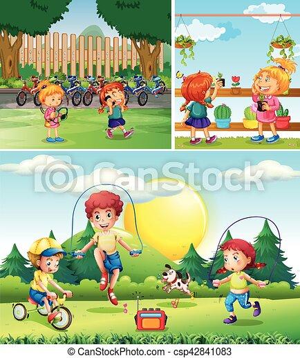 Scene with children playing in the garden - csp42841083
