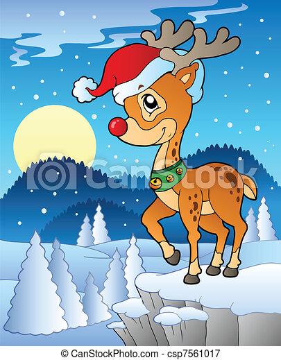 Scene with Christmas deer 1 - csp7561017