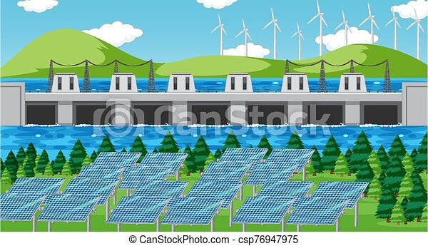 Scene with clean energy in the field - csp76947975
