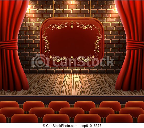 Scene with curtains against decorative brick vintage wall and wooden floor with light from floodlights for signboard - csp61016377