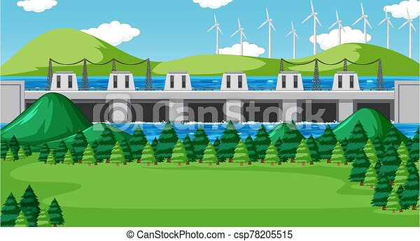 Scene with dam and wind turbines on the hills - csp78205515