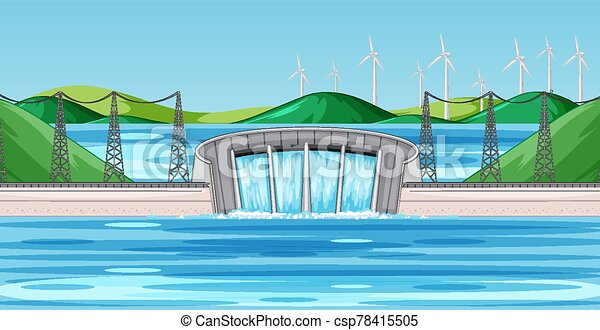 Scene with dam and wind turbines on the hills - csp78415505