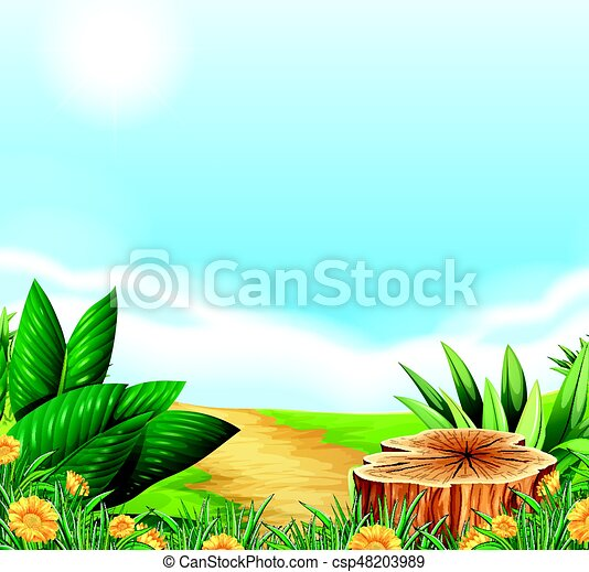 Scene with dirt road in the countryside - csp48203989
