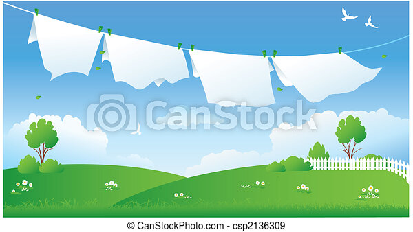 Scene with drying laundry - csp2136309