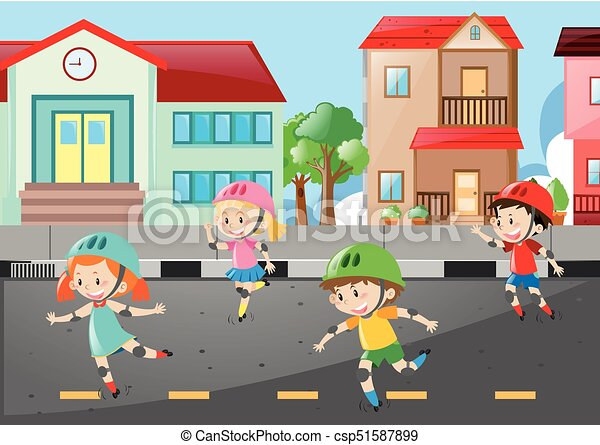 Scene with four kids skating on the road illustration.