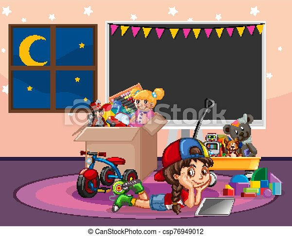Scene with girl relaxing in the room full of toys - csp76949012