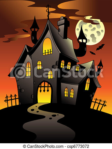 Scene with Halloween mansion 1 - csp6773072