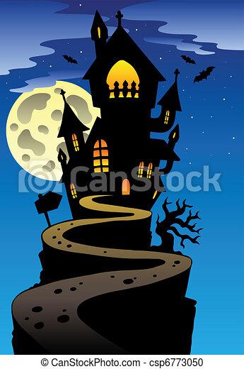 Scene with halloween mansion 2 - vector illustration. vector ...