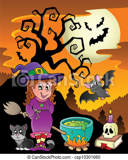 Scene with halloween theme 8 - vector illustration. clip art ...
