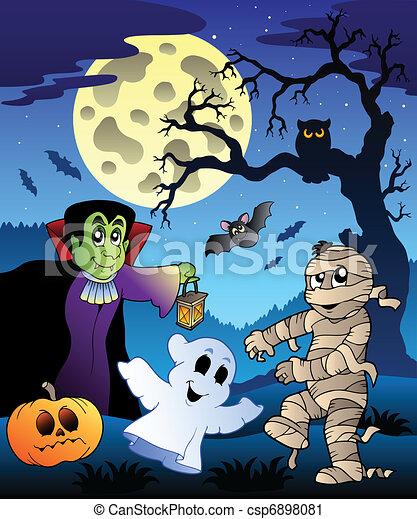 Scene with Halloween tree 4 - csp6898081
