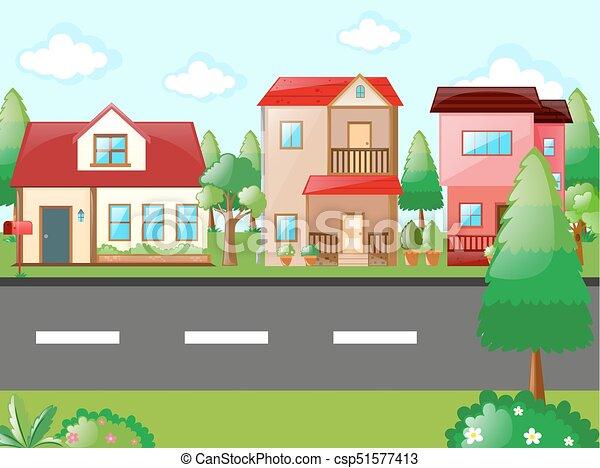 scene with houses in neighborhood illustration vector clip art rh canstockphoto com neighborhood watch clipart free neighborhood watch clipart free