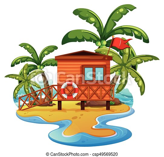 scene with lifeguard house on beach illustration vector illustration rh canstockphoto com clip art beach scenes free clip art beach scenes free