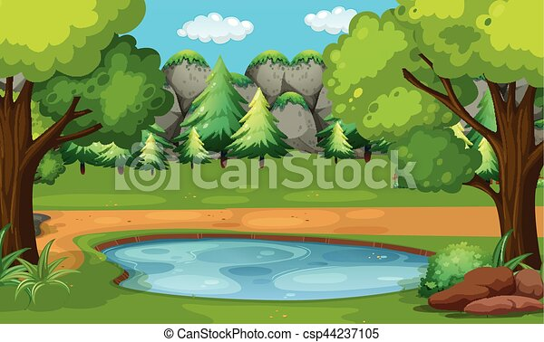 Scene With Pond In The Woods
