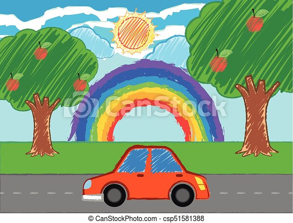 Scene with red car on the road illustration vector - Search Clip Art ...
