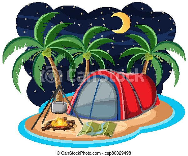 Scene with red tent on the island at night - csp80029498