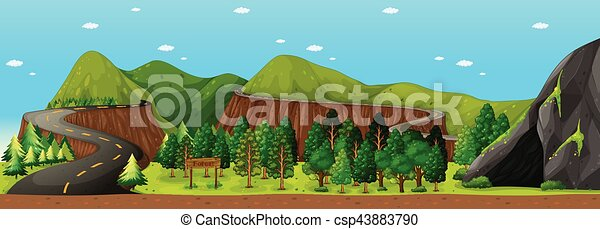 Scene with road to the mountain - csp43883790