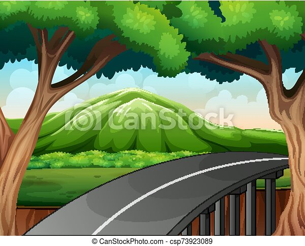 Scene with road to the mountain - csp73923089