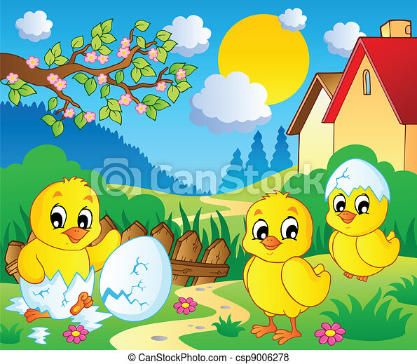 scene with spring season theme 2 vector illustration rh canstockphoto com Spring Clip Art First Day of Spring Clip Art