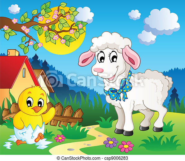 Scene With Spring Season Theme 3 Vector Illustration