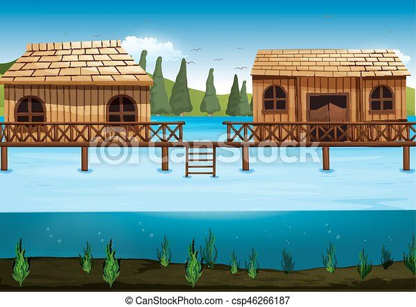 Scene with two houses in the river - csp46266187