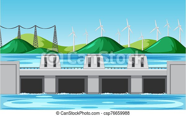 Scene with water dam and wind turbines on the hills - csp76659988