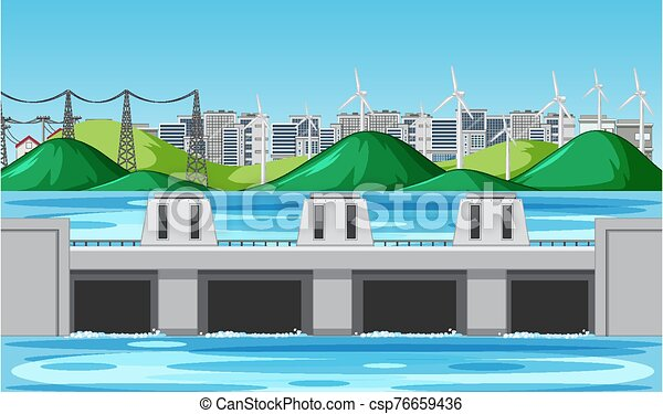 Scene with water dam and wind turbines on the hills - csp76659436