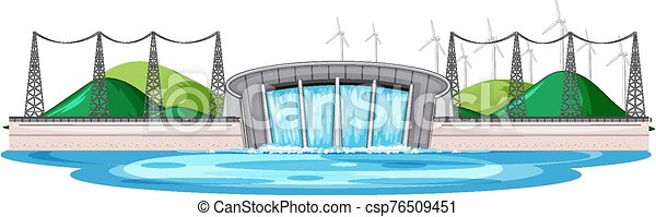 Scene with water dam with wind turbines on the hills - csp76509451