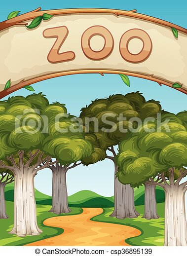 scene with zoo and trees illustration vectors search clip art rh canstockphoto ie zoo clipart background zoo clipart border