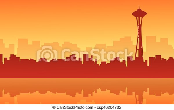 scenery seattle space needle tower silhouettes vector illustration