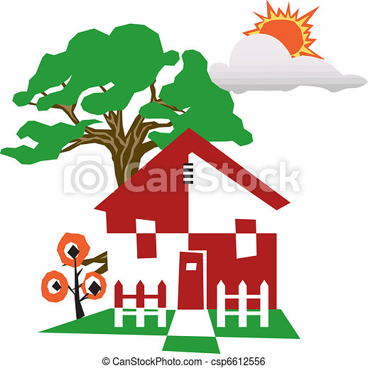 its an illustration of a scenery with house trees sun stock rh canstockphoto com clipart scenery backgrounds scenery clipart black and white