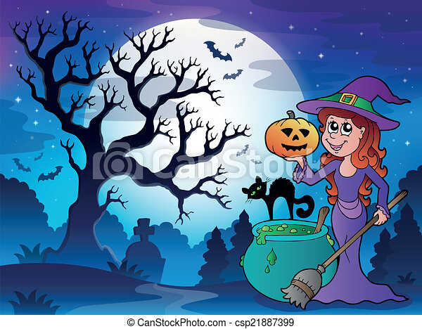 Scenery with Halloween character 1 - csp21887399
