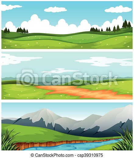 Scenes with field and road in countryside - csp39310975