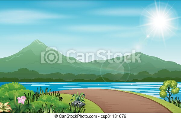 Scenes with field and road in countryside illustration - csp81131676