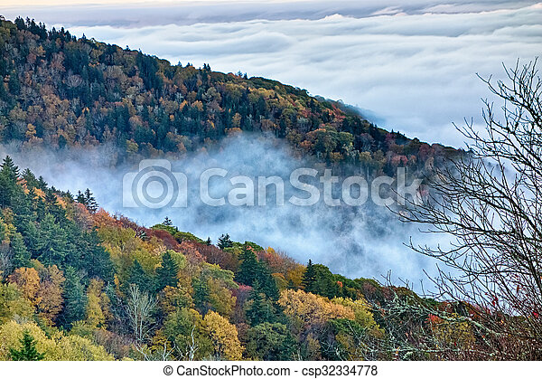 Scenic Blue Ridge Parkway Appalachians Smoky Mountains autumn Landscape - csp32334778