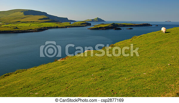 scenic landscape with lake and mountains - csp2877169