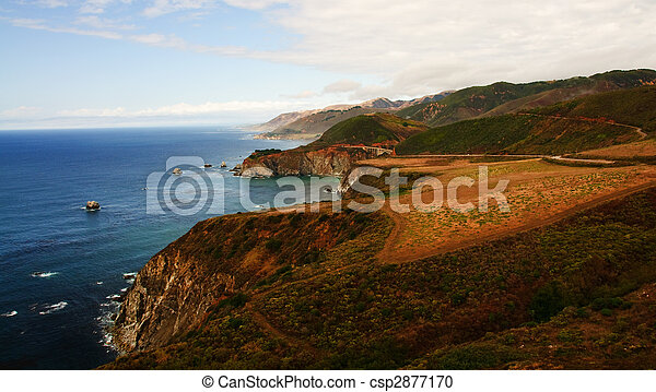 scenic landscape with lake and mountains - csp2877170