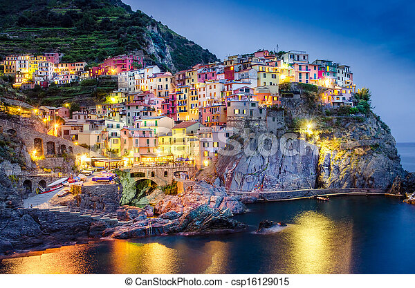 Scenic night view of colorful village Manarola in Cinque Terre - csp16129015