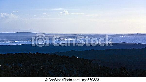 scenic sunset at the coastline in Janubio, Lanzarote - csp8598231