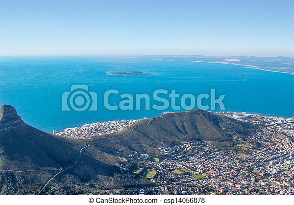Scenic View in Cape Town, Table Mountain, South Africa  from an aerial perspective - csp14056878