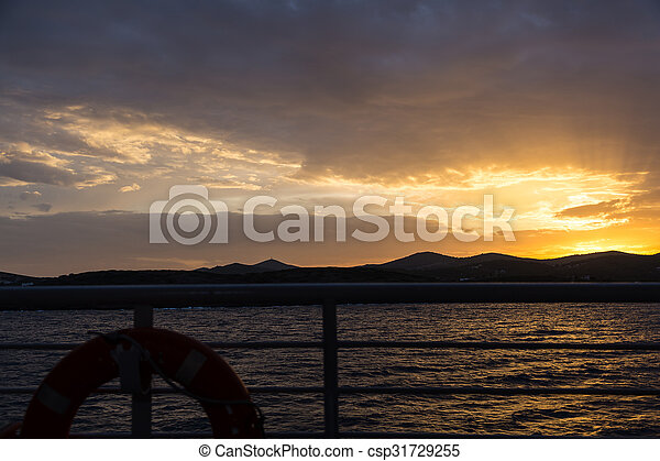 Scenic view of a beautiful sunset over the sea - csp31729255